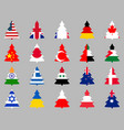 firs with flags of different countries around the vector image