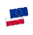 flags poland and european union on a white vector image