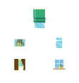 Flat icon glass set of glass balcony clean and vector image