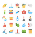flat icon set of laundry and bathroom cleaners vector image vector image