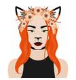 girl with fox ears flower vector image