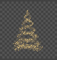 Gold christmas tree on transparent background