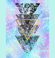 grunge black shapes of triangles with gold vector image vector image