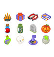 halloween isometric 3d witch magic icons set vector image