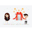 happy smiling people are carrying a large gift vector image