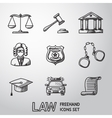 Law justice freehand icons set vector image vector image