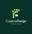 letter f digital pixel creative modern logo vector image vector image