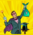 magician with yen money vector image vector image
