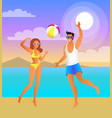man and woman play volleyball at tropical beach vector image