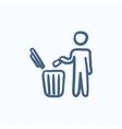 Man throwing garbage in a bin sketch icon vector image vector image