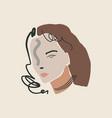 modern boho pastel woman face fashion beauty vector image vector image
