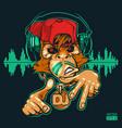 monkey dj monkey rapper vector image