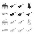 musical instrument blackoutline icons in set vector image