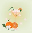 orange fruits fresh cocktail glass summer drink vector image vector image