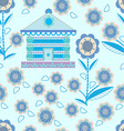 pattern of houses and flowers stylized vector image vector image