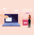 poster vote with business woman and laptop vector image vector image