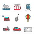 public transport color icons set vector image