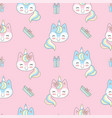 seamless pattern merry christmas unicorn on pink vector image