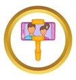 Selfie stick with mobile phone icon vector image vector image
