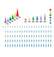 set 3d isometric pyramid percentage bar chart vector image