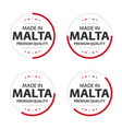 set four maltese icons made in malta vector image vector image