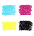 Set of CMYK dotted spots vector image