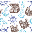ship anchor treasure chest and steering wheel vector image vector image