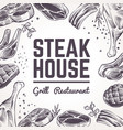 sketch meat background grill food menu beef vector image