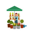 smiling woman selling flowers on street market vector image