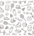 sports equipment seamless pattern basketball and vector image