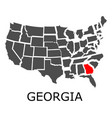 state georgia on map usa vector image vector image