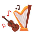 stringed musical instruments and notes around vector image vector image