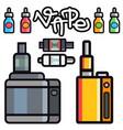 vape device set cigarette vaporizer vapor vector image vector image