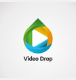 video drop logo with fun concept icon element and vector image vector image