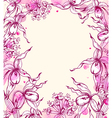 Vintage hand drawn floral frame with orchids vector image
