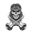 vintage rockstar skull in bandana vector image vector image