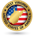 west virginia state gold label with state map vector image