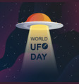 world ufo day in black and white style back vector image