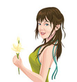 young woman holding flower vector image vector image