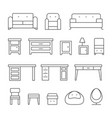 living room furniture line icons set vector image