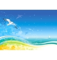 Sea background with ship and seagulls vector image