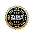 2 years of warranty sticker isolated golden seal vector image vector image