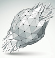 3d low poly object with black connected lines and vector image vector image