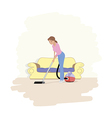 a girl with hoover vector image