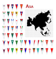 Asia flags and map vector | Price: 1 Credit (USD $1)
