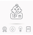 Baby face icon Newborn child sign vector image