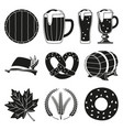 black and white 10 oktoberfest elements silhouette vector image