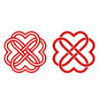 celtic knot red hearts in shape a flower vector image vector image