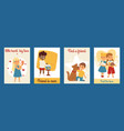 children with pets friendship cards vector image