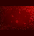 christmas snowflakes on red bokeh background vector image